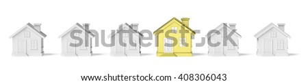 Uniqueness, individuality, real estate business creative concept - golden unique house in row of ordinary gray houses standing out from crowd. - stock photo
