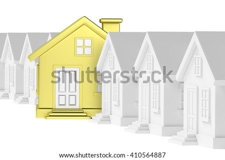Uniqueness, individuality, real estate business creative concept - golden unique house in row of gray ordinary houses standing out from crowd of houses and looking at you - stock photo