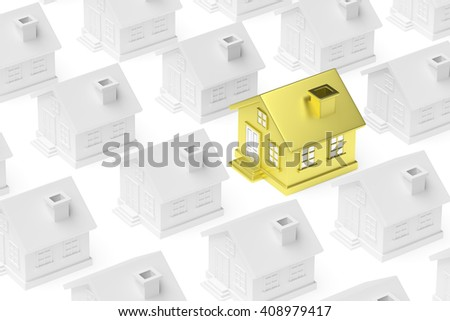 Uniqueness, individuality, real estate business creative concept - golden unique house standing out from crowd of gray ordinary houses, 3d illustration - stock photo