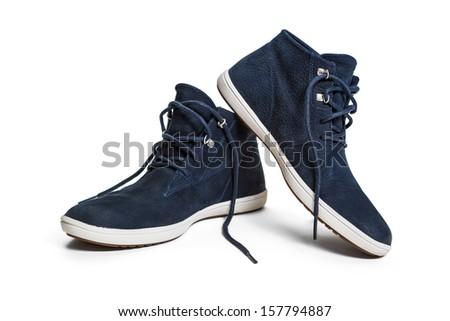 Unisex shoes over white - stock photo
