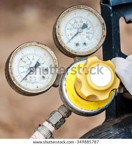 Unit of pressure gauges gas tank - stock photo
