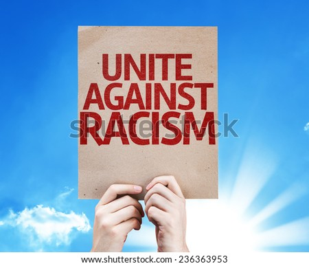 Unite Against Racism card with sky background - stock photo