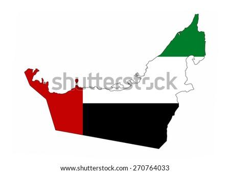 united arab emirates country flag map shape national symbol - stock photo