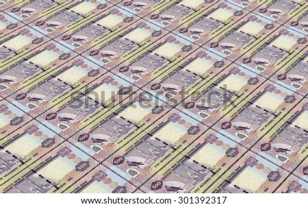 United Arab Emirates dirhams bills stacks background. - stock photo