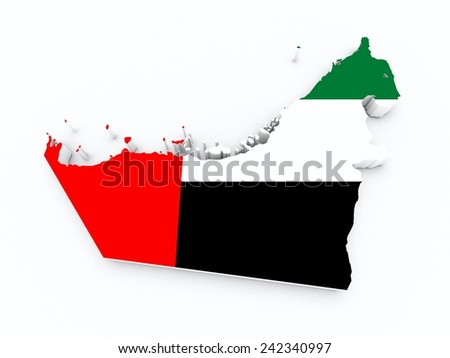 united arab emirates flag on 3d map  - stock photo