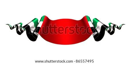 United Arab Emirates flag ribbon on white background - stock photo