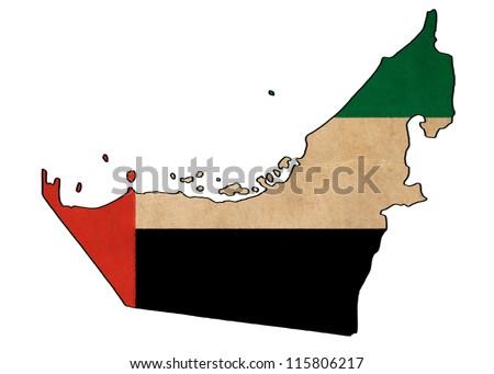 United Arab Emirates map on United Arab Emirates flag drawing ,grunge and retro flag series - stock photo