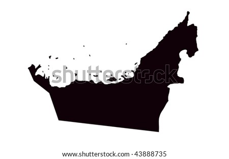 United Arab Emirates - white background - stock photo