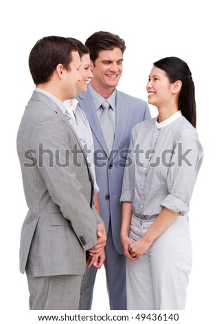 United business team having a talk against a white background - stock photo