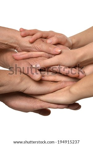 United hands isolated on a white background - stock photo