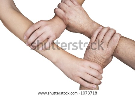 united hands isolated with clipping path - stock photo