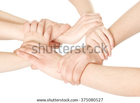 United hands on white background - stock photo