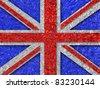 United Kingdom aluminum foil texture background, Union Jack - stock photo