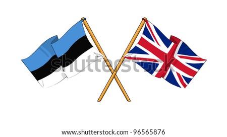 United Kingdom and Estonia alliance and friendship - stock photo