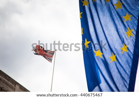 United Kingdom and European union flags combined for the 2016 referendum - stock photo