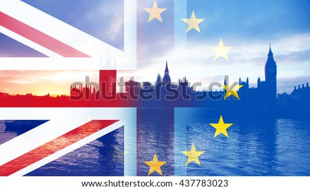 United Kingdom and European union flags combined for the 2016 referendum - Westminster and Big Ben in the bckground - stock photo