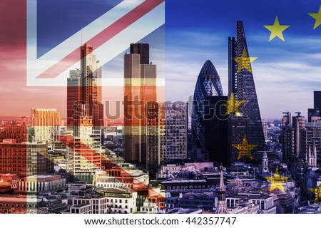 United Kingdom and European Union flags over the Bank District's Skyscrapers in London, England - stock photo