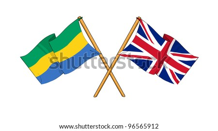 United Kingdom and Gabon alliance and friendship - stock photo