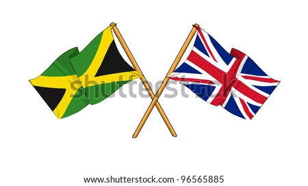 United Kingdom and Jamaica alliance and friendship - stock photo