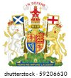United Kingdom and Scotland coat of arms, seal or national emblem, isolated on white background. - stock photo