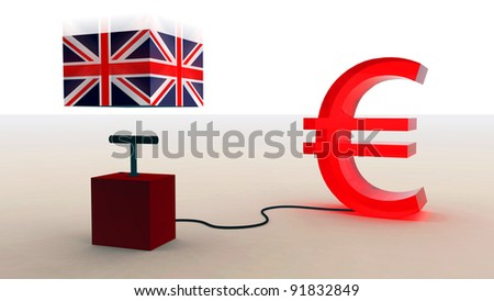 United Kingdom and the euro - stock photo