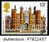 UNITED KINGDOM - CIRCA 1978 : A British Used Postage Stamp showing Hampton Court Palace, circa 1978 - stock photo