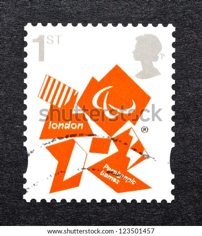 UNITED KINGDOM - CIRCA 2011: a postage stamp printed in United Kingdom commemorative of London 2012 Paralympic games, circa 2011. - stock photo