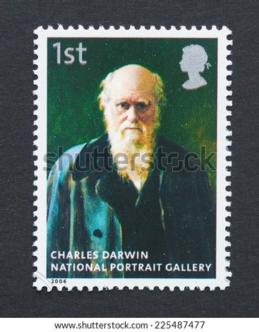UNITED KINGDOM - CIRCA 2006: a postage stamp printed in United Kingdom showing an image of Charles Darwin, circa 2006.  - stock photo