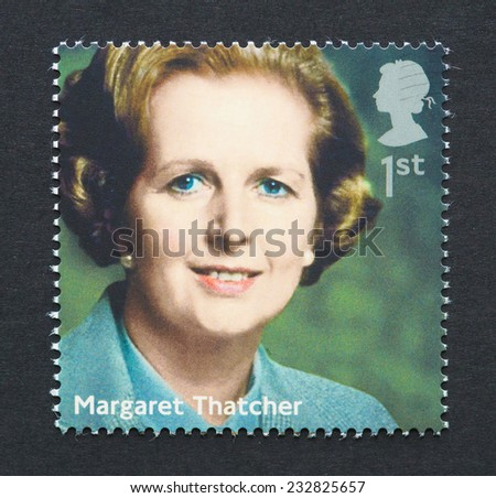 UNITED KINGDOM - CIRCA 2014: a postage stamp printed in United Kingdom showing an image of prime minister Margaret Thatcher, circa 2014.  - stock photo