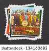 UNITED KINGDOM - CIRCA 2007: a postage stamps printed in United Kingdom showing an image of The Beatles, Sgt. Pepper�s Lonely Hearts Club Band album cover, circa 2007. - stock photo