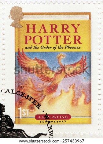 UNITED KINGDOM - CIRCA 2007: A stamp printed by GREAT BRITAIN shows image of cover of Harry Potter and the Order of the Phoenix novel by Joanne (Jo) Rowling, pen names J.K. Rowling, circa 2007. - stock photo