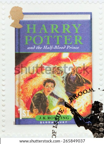 UNITED KINGDOM - CIRCA 2007: A stamp printed by GREAT BRITAIN shows image of cover of Harry Potter and the Half-Blood Prince novel by Joanne (Jo) Rowling, pen names J. K. Rowling, circa 2007. - stock photo