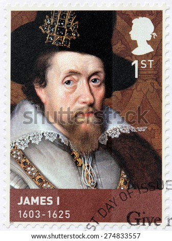 UNITED KINGDOM - CIRCA 2010: A stamp printed by GREAT BRITAIN shows image portrait of  Jame I. He  was King of Scotland as James VI and King of England and Ireland as James I , circa 2010 - stock photo