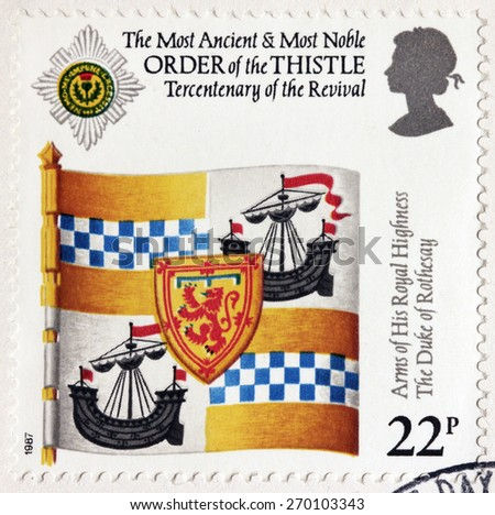 UNITED KINGDOM - CIRCA 1987: A stamp printed by GREAT BRITAIN shows The Most Ancient and Most Noble Order of the Thistle and Arms of His Royal Highness The Duke of Rothesay, circa 1987 - stock photo