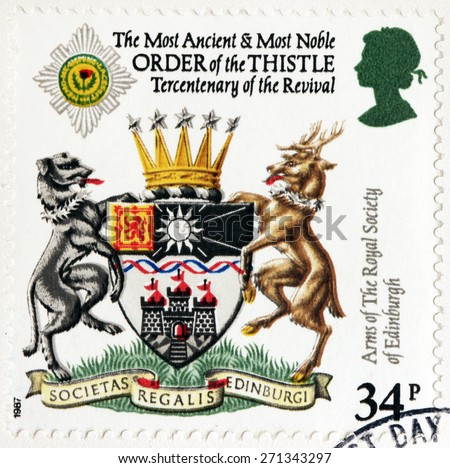 UNITED KINGDOM - CIRCA 1987: A stamp printed by GREAT BRITAIN shows The Most Ancient and Most Noble Order of the Thistle and Arms of the Royal Society of Edinburgh, circa 1987 - stock photo