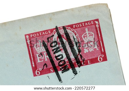 UNITED KINGDOM - CIRCA 1957: A stamp printed by UNITED KINGDOM shows image portrait of Queen Elizabeth II, circa 1957 - stock photo