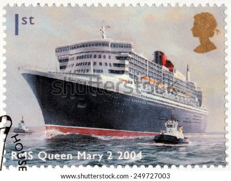 UNITED KINGDOM - CIRCA 2004: A stamp printed by UNITED KINGDOM shows view of famous ocean liner RMS Queen Mary 2, circa 2004 - stock photo