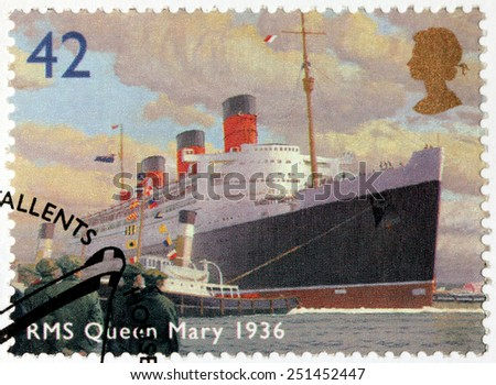 UNITED KINGDOM - CIRCA 2004: A stamp printed by UNITED KINGDOM shows view of famous ocean liner RMS Queen Mary (1936), circa 2004 - stock photo