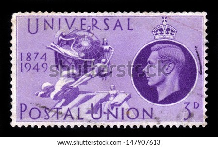 UNITED KINGDOM - CIRCA 1949: A stamp printed in England, is dedicated to the 75th anniversary of the UPU ( universal postal union ), shows the UPU Monument in Bern, circa 1949 - stock photo
