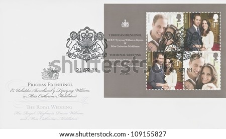 UNITED KINGDOM - CIRCA 2011: A stamp printed in England shows an image of Prince Williams and Kate Middleton engagement, circa 2011 - stock photo