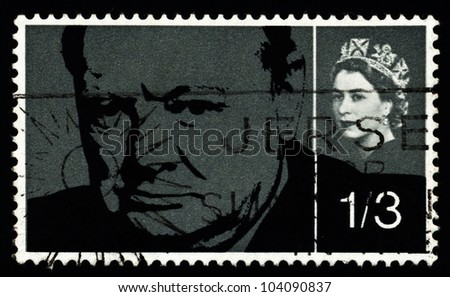 UNITED KINGDOM - CIRCA 1965: A stamp printed in England, shows Sir Winston Spencer Churchill, statesman and WWII leader, circa 1965. - stock photo