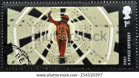 UNITED KINGDOM - CIRCA 2014: A stamp printed in Great Britain dedicated to Great British Film, shows 2001 A Space Odyssey , circa 2014 - stock photo