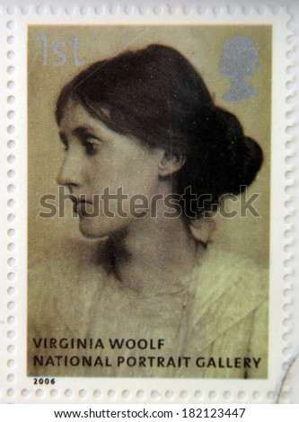 UNITED KINGDOM - CIRCA 2006: A stamp printed in Great Britain dedicated to the national portrait gallery, shows Virginia Woolf by George Charles Beresford, circa 2006 - stock photo