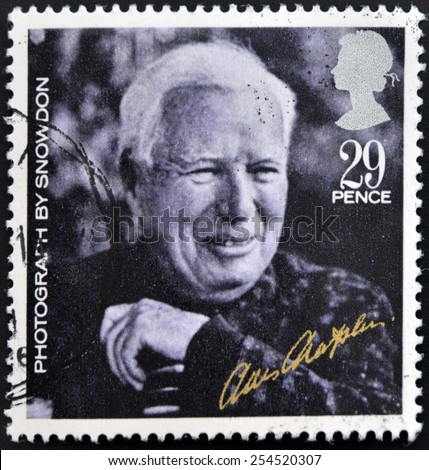 UNITED KINGDOM - CIRCA 1985: A stamp printed in Great Britain shows Charlie Chaplin (from photo by Lord Snowdon), circa 1985 - stock photo