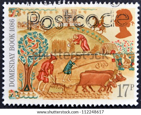 UNITED KINGDOM - CIRCA 1986: A stamp printed in the Great Britain dedicated to 900th Anniversary of Domesday Book, first nationwide survey in British history, circa 1986 - stock photo