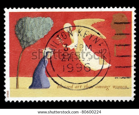 UNITED KINGDOM - CIRCA 1996: A stamp printed in the United Kingdom shows a christmas blessed art thou among women, circa 1996 - stock photo