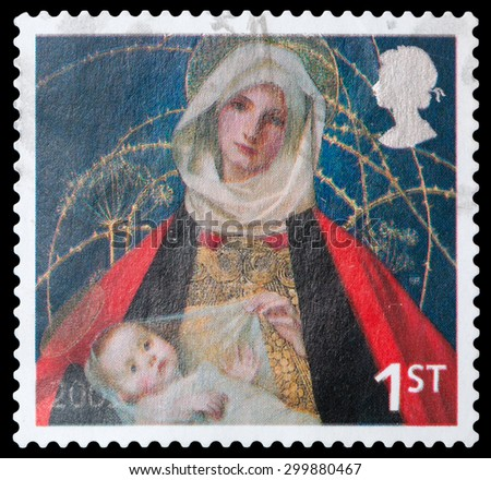 UNITED KINGDOM - CIRCA 2005: A stamp printed in the United Kingdom shows image of Mary and baby Jesus, circa 2005. - stock photo