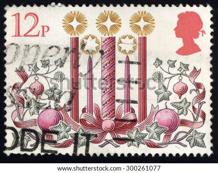 UNITED KINGDOM - CIRCA 1980: A stamp printed in the United Kingdom shows The Candles, circa 1980.  - stock photo