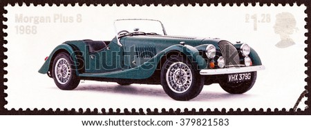 """UNITED KINGDOM - CIRCA 2013: A stamp printed in United Kingdom from the """"British Auto Legends. The Thoroughbreads """" issue shows 1968 Morgan Plus 8, circa 2013. - stock photo"""