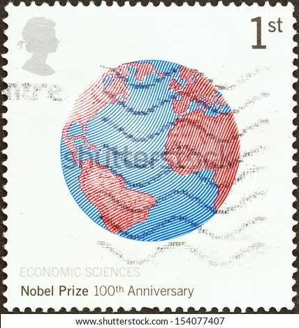 UNITED KINGDOM - CIRCA 2001: A stamp printed in United Kingdom issued for the Centenary of Nobel Prizes shows globe, circa 2001.  - stock photo